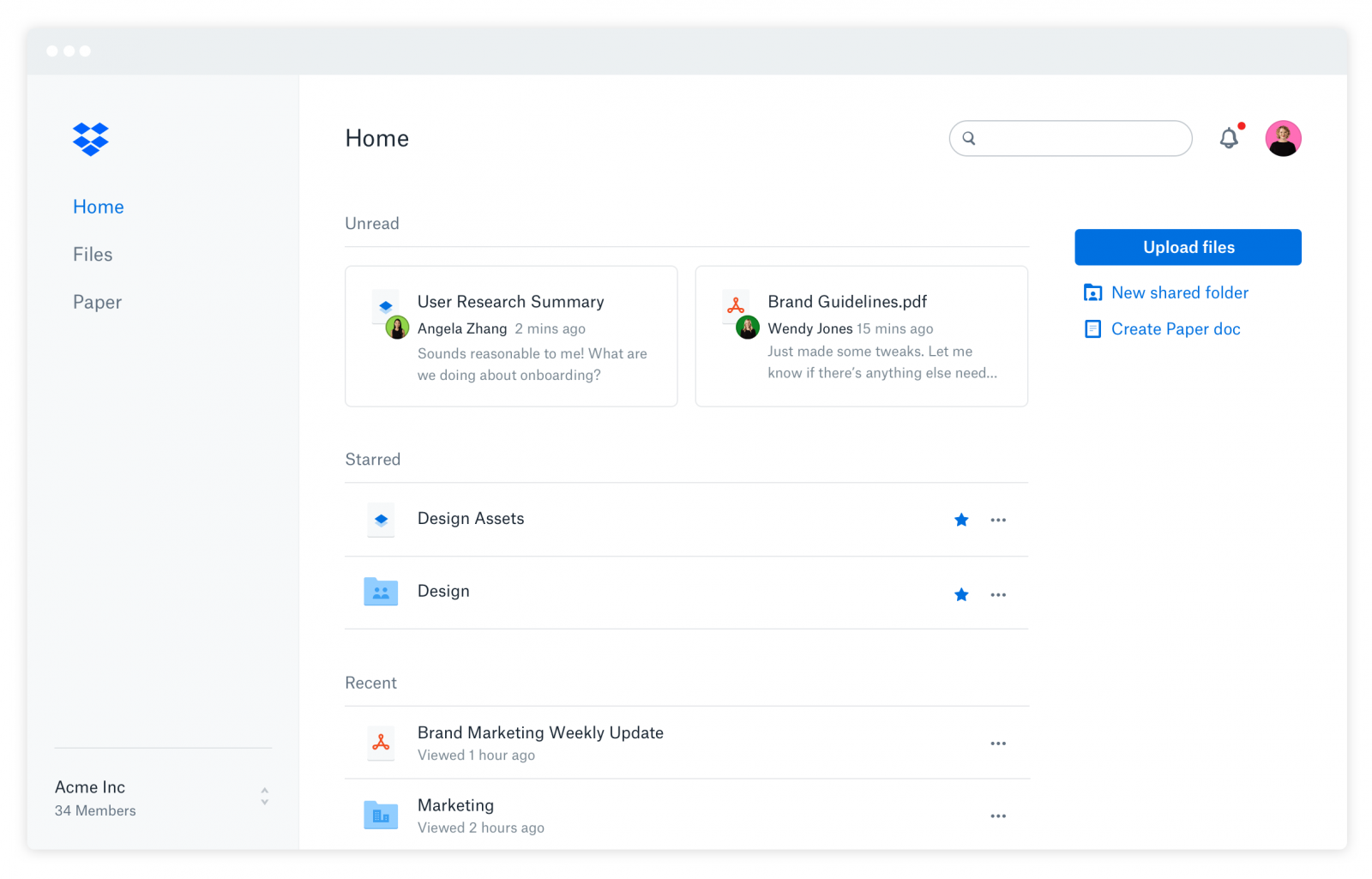 Dropbox Business home web view